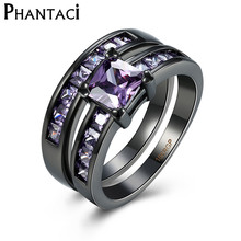 Luxury AAA Purple Zircon Ring Wedding Set Black Gold Plated Imitation Gemstone Engagement Jewelry For Women