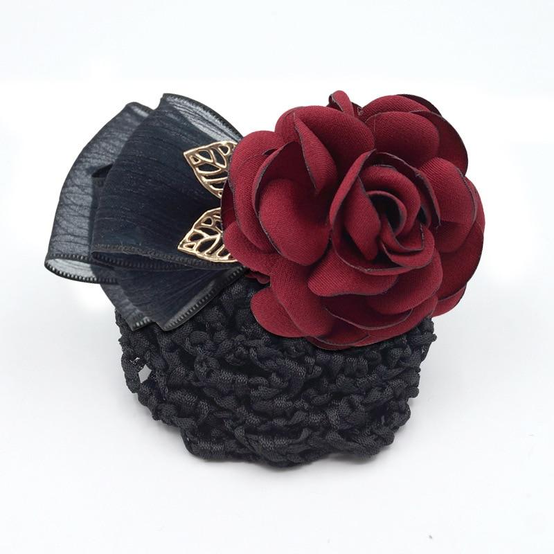 i Remiel fashion Ribbon Flower Hairgrips Crochet Bun Net Snood Bow Hair Clips For Women Hair Pin Accessorie Hair Jewelry Women in Hair Jewelry from Jewelry Accessories