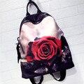 2016 couro novo bolsa de ombro versão Coreana do pano de Oxford com couro mochila moda Dos Desenhos Animados Rosa