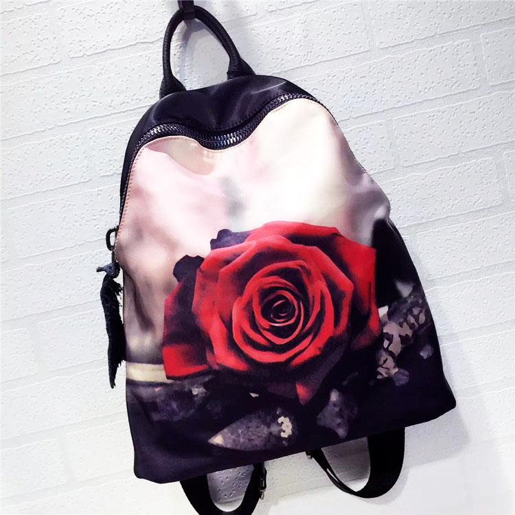 2016 new leather shoulder bag Korean version of the Oxford cloth with cowhide  fashion backpack Cartoon Rose oxford bag korean version of the female students shoulder bag large capacity backpack canvas backpacks