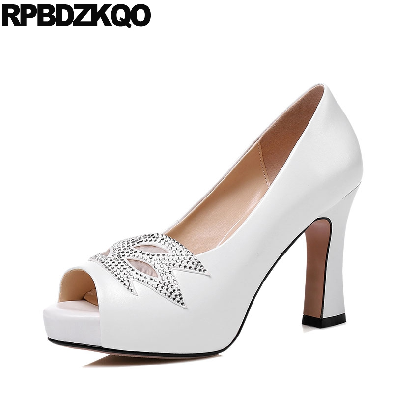 High Heels Shoes Size 33 Ladies 2017 Fish Mouth Rhinestone 3 Inch White Prom Pumps Crystal Platform 4 34 Thick Peep Toe Genuine pointed toe dress shoes ladies pumps high heels ankle strap footwear 4 34 small size crystal stiletto 2017 7cm 3 inch silver