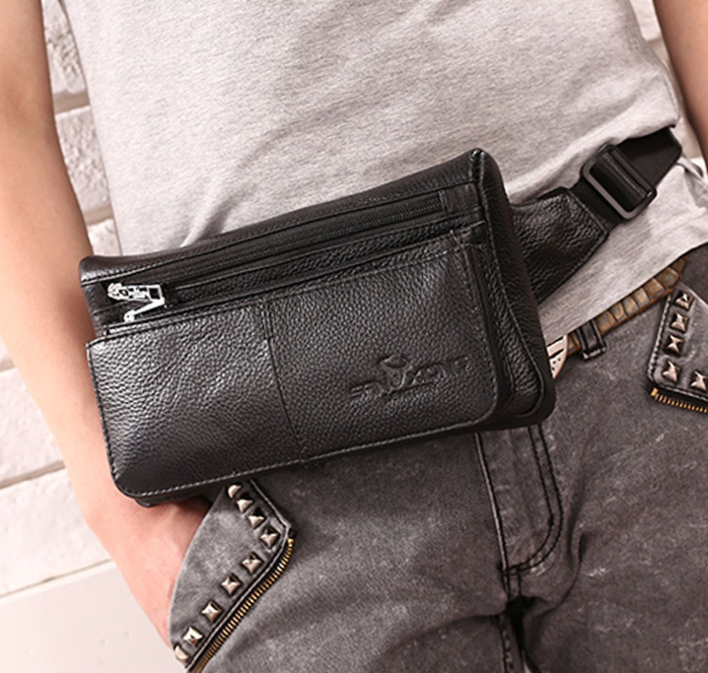 New Men Genuine Leather Fanny Pack Waist Chest Bag Vintage Travel Shoulder Messenger Hip Belt Bum Pouch Sling Pack Chest Bag men s genuine leather belt buckle back pack shoulder messenger unbalance sling chest bag