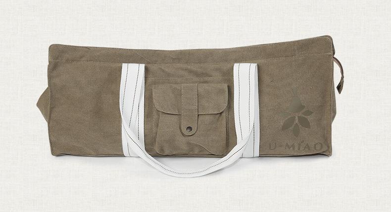 Sac à main beige, kaki, pour tapis de yoga en coton écologique, housse étui