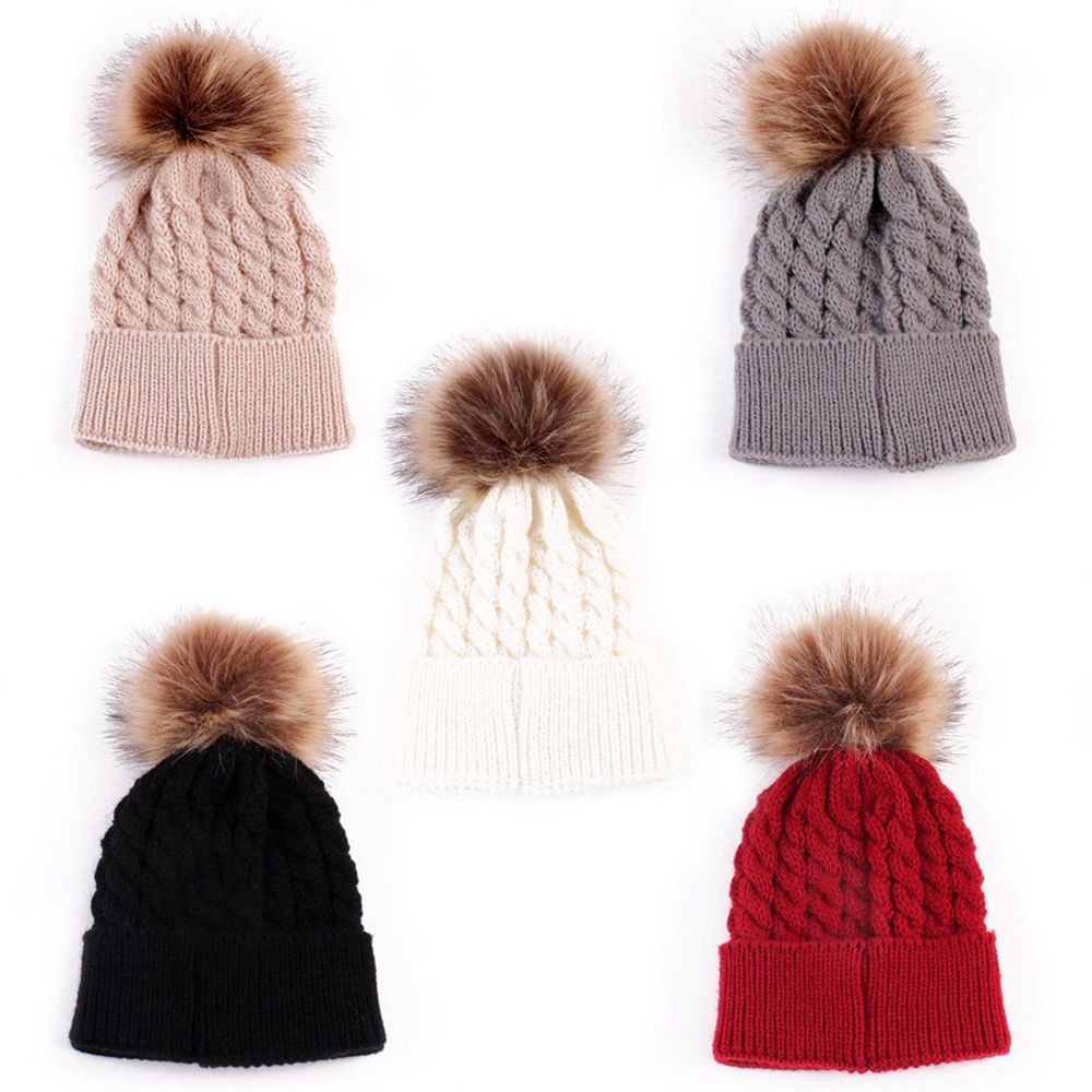 Infant Winter Warm Knit Crochet Caps Baby Beanie Hat Toddler Kid Faux Fur Pom Pom Knit Cap 2016 lady women s knit winter warm crochet hat braided baggy beret beanie cap 8n8d