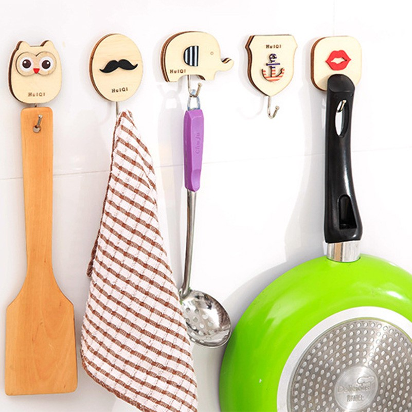 Cute Cartoon Wood Wall Hooks Decorative Door Holder For Kitchen Organizer Bathroom Accessories Key Hanger