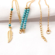 New Stone Beads Long Chain Necklace Pendants Feather Shape Clavicle Choker Statement Neck Jewelry
