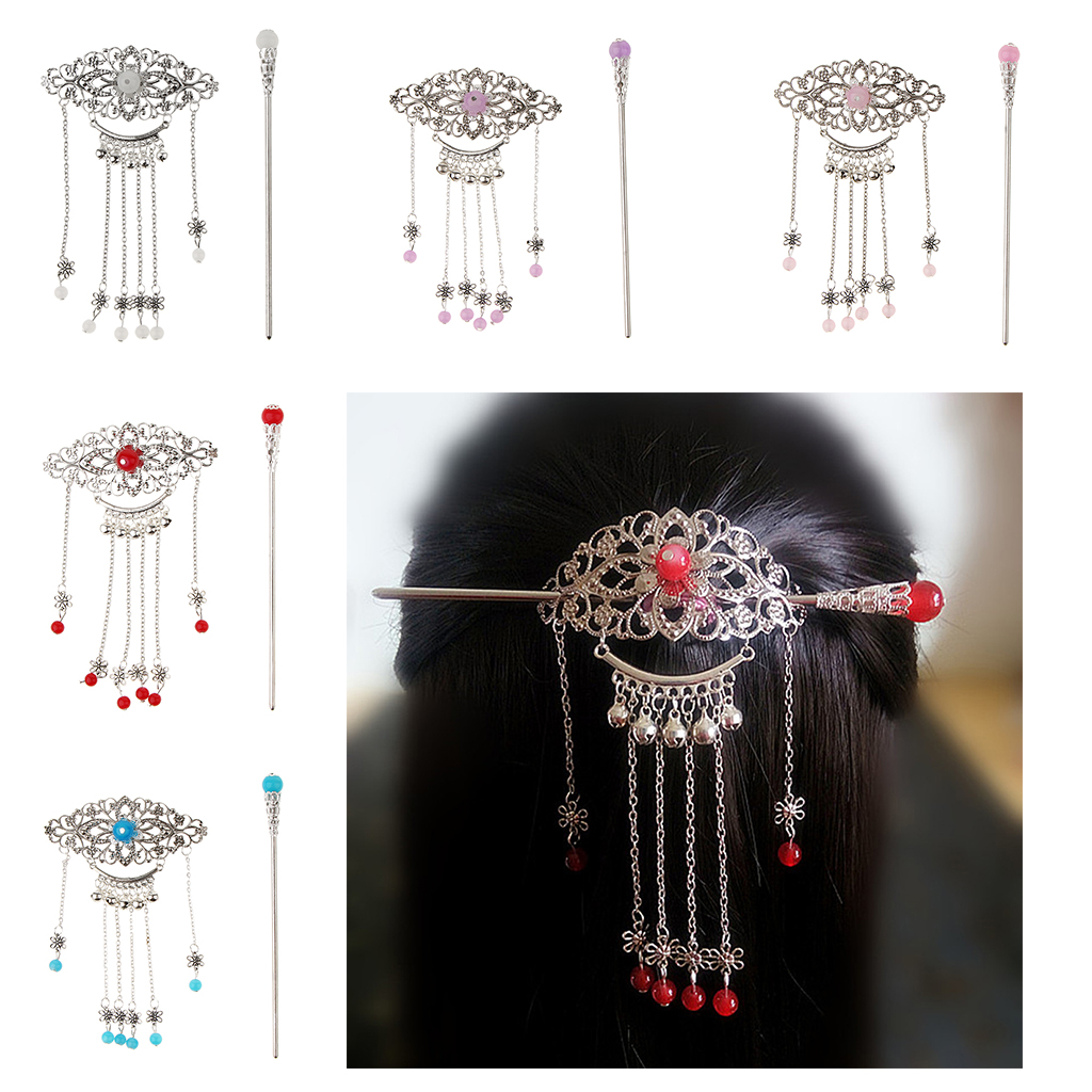 Phenovo Women Retro Traditional Chinese Wedding Floral Tassels Bells Hair Stick Chignon Chopsticks   Headwear   Hair Stick Jewelry
