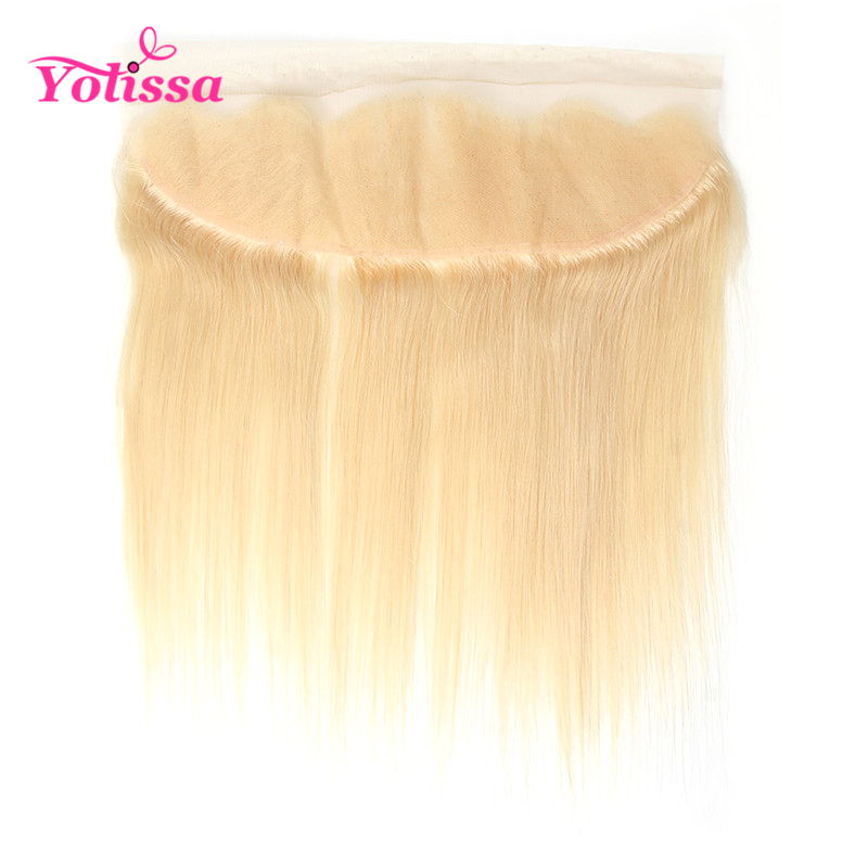 Yolissa Hair Blonde 613 Lace Frontal Closure With Baby Hair 13x4 Pre Plucked Straight Hair Ear to Ear Frontal Remy Hair image