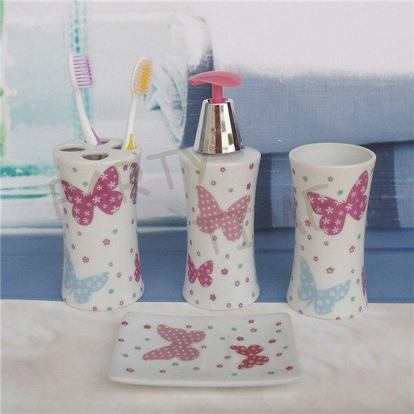 Delightful Ceramic Bathroom Set, Lotion Dispense, Butterfly Pattern Bathroom Decoration