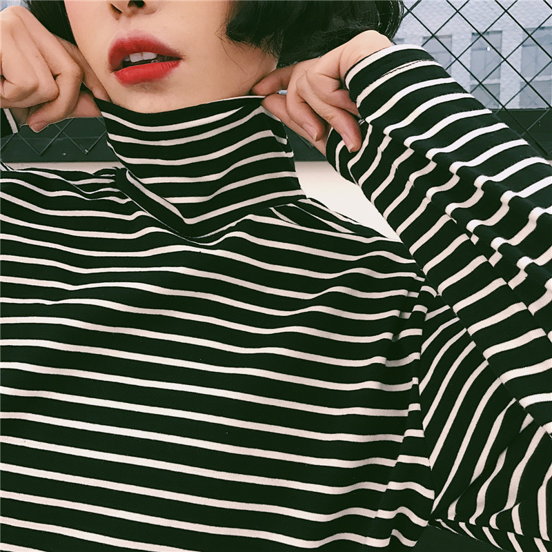 Autumn Spring Women Striped Turtleneck T-shirts Tops Girls Full Sleeve Boyfriend Style Tees T shirts Clothing for Women JM7286 ...