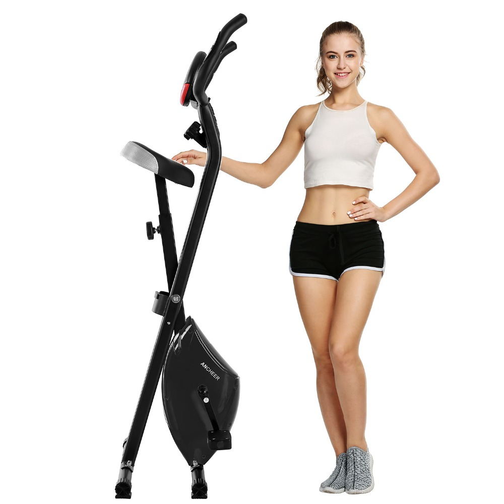 Ancheer Indoor Folding Magnetic Upright Exercise Bike with Pulse Home Gym Cycling Bike Bicicleta Estatica Fitness Equipment cycling trainer home training indoor exercise 6 speed magnetic resistances bike trainer fitness station bicycle trainer rollers