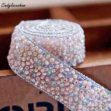 Cindylaceshow 2cm Width Pink Fake Pearl Beaded Lace Trim Mesh Fabric Paillette Lace Beaded Pearl Trims Braid DIY Lace Appliques цена 2017