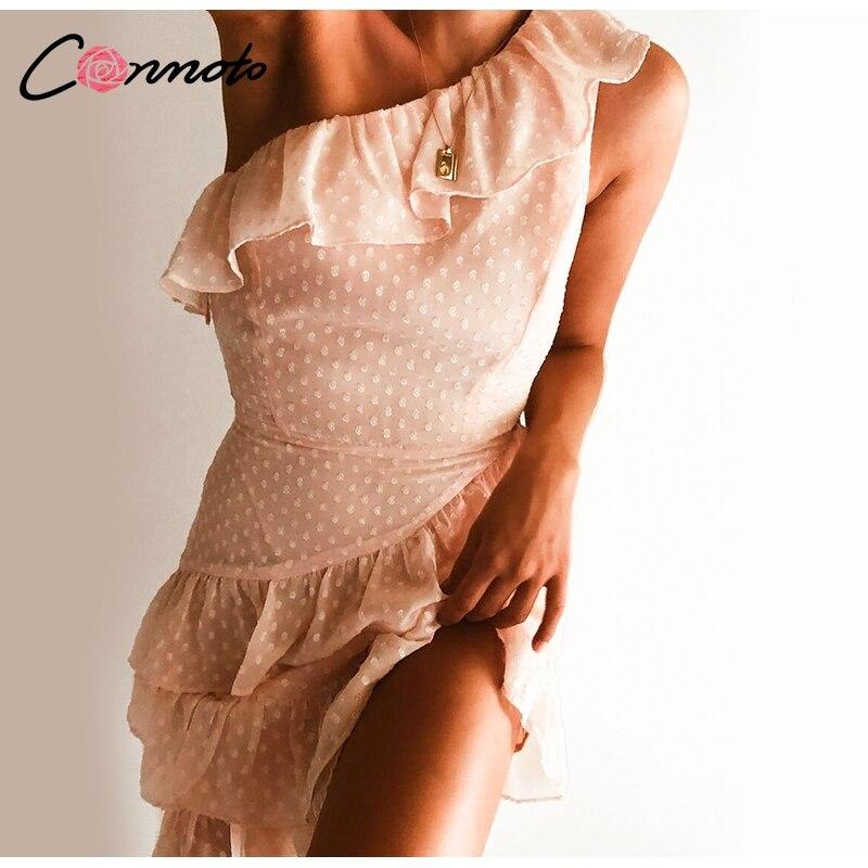 Conmoto Casual Polka Dot Short Party Dress Girls 19 Summer NEW One-Shoulder Sleeveless Ruffle Chiffon Dress Women Vestidos 5