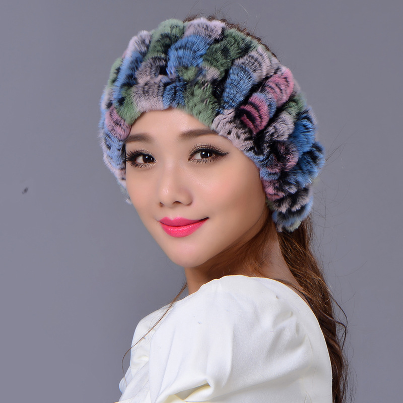 2016 winter beanies scarf and hat Dual use for women knitted rex Raccoon fur hat top