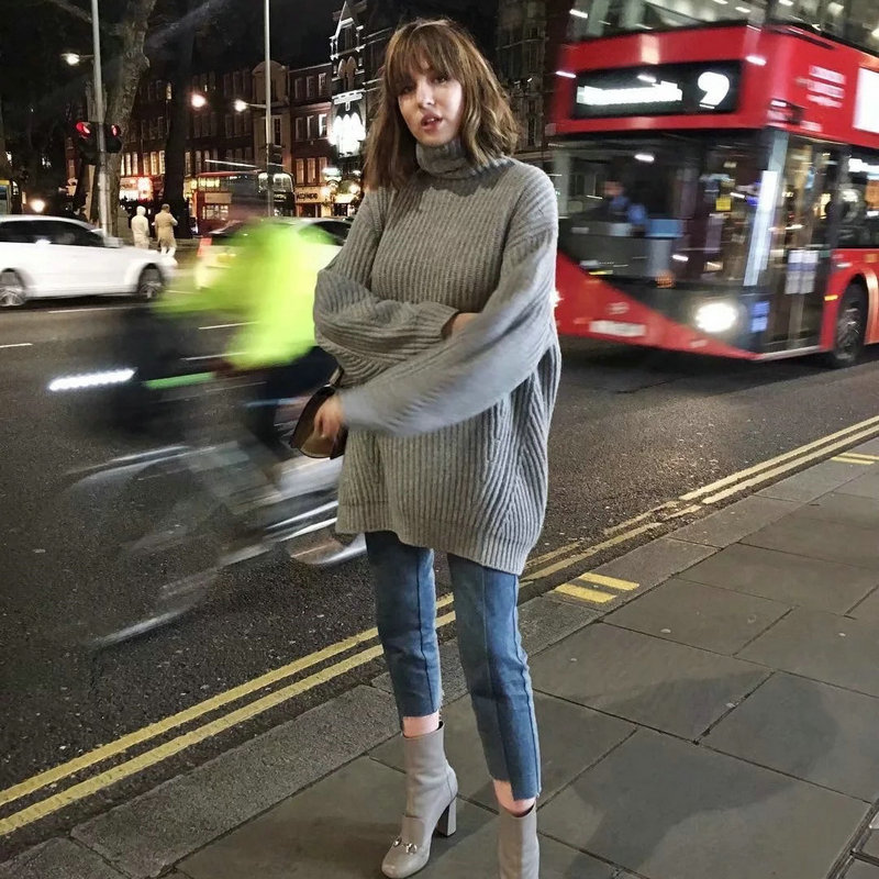 New Women Thick Sweater Turtleneck Solid Fashion Casual Pullovers Autumn Winter Loose Warm Outwear Female Sweater