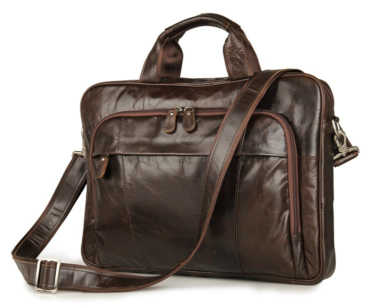 Nesitu Vintage Real Skin Genuine Leather Men Briefcase 14'' Laptop Bag Portfolio Men Messenger Bags #M7334-in Briefcases from Luggage & Bags    1