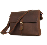 Vintage Genuine Crazy Horse Leather Brown Leather Weekend Bag Shoulder Men's Messenger Bag Laptops Men Travel Bags #MD J7084L