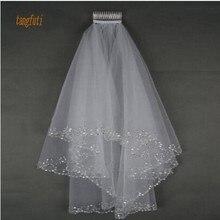 Сверкающая двухслойная короткая свадебная вуаль белого цвета с бисером по краям, длина до локтя, мягкий тюль, аксессуары для свадьбы, фата невесты с гребнем