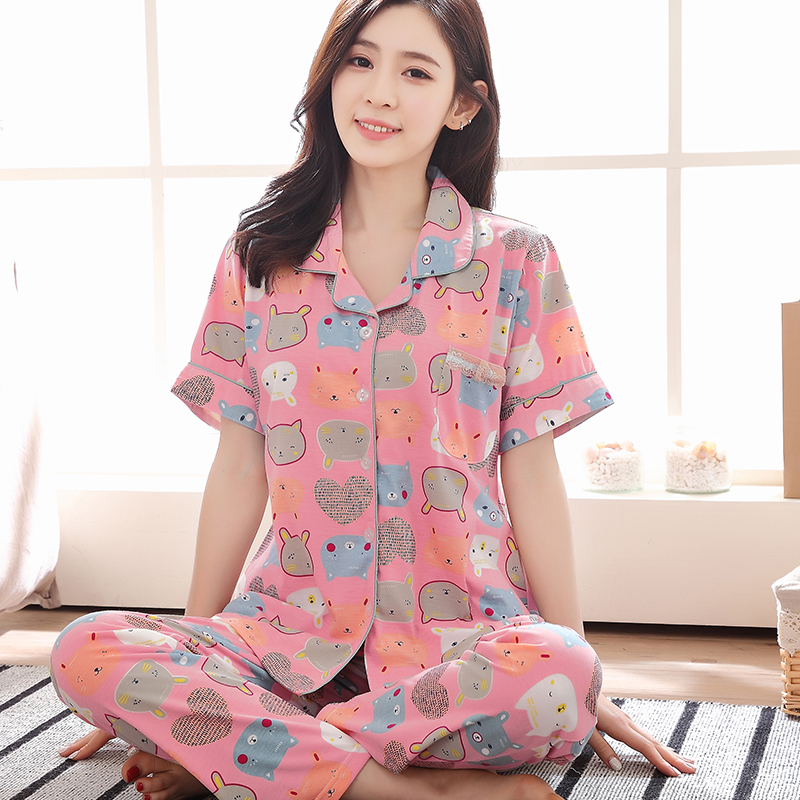 Plus Size M-3XL 2017 Summer Short-sleeved Pajamas Female Cartoon Two-piece Pants Suit Tracksuit Women Sleepwear Loose Hot Sale