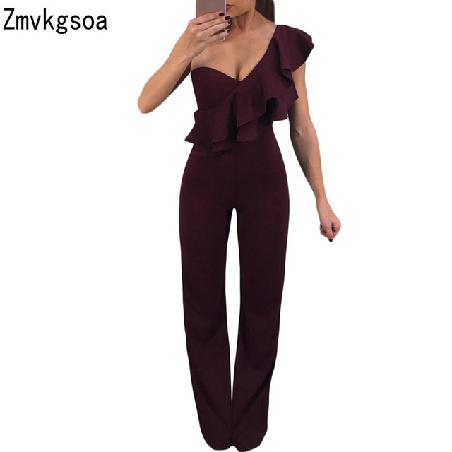 918b5367d163e US $16.22 25% OFF|Zmvkgsoa Rompers Womens Jumpsuit Burgundy Ruffle One  Shoulder Party Summer Sexy Women Jumpsuits Romper V643680-in Jumpsuits from  ...