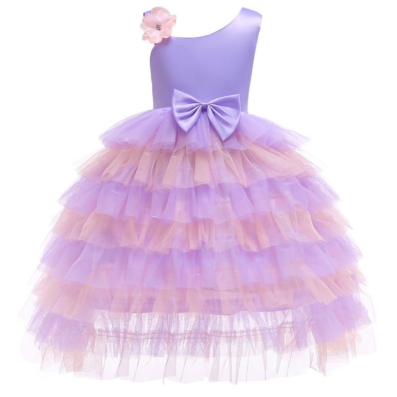 Élégante princesse bébé filles robe de soirée pour mariage maille arc épaule enfants robes pour fille noël enfants vêtements