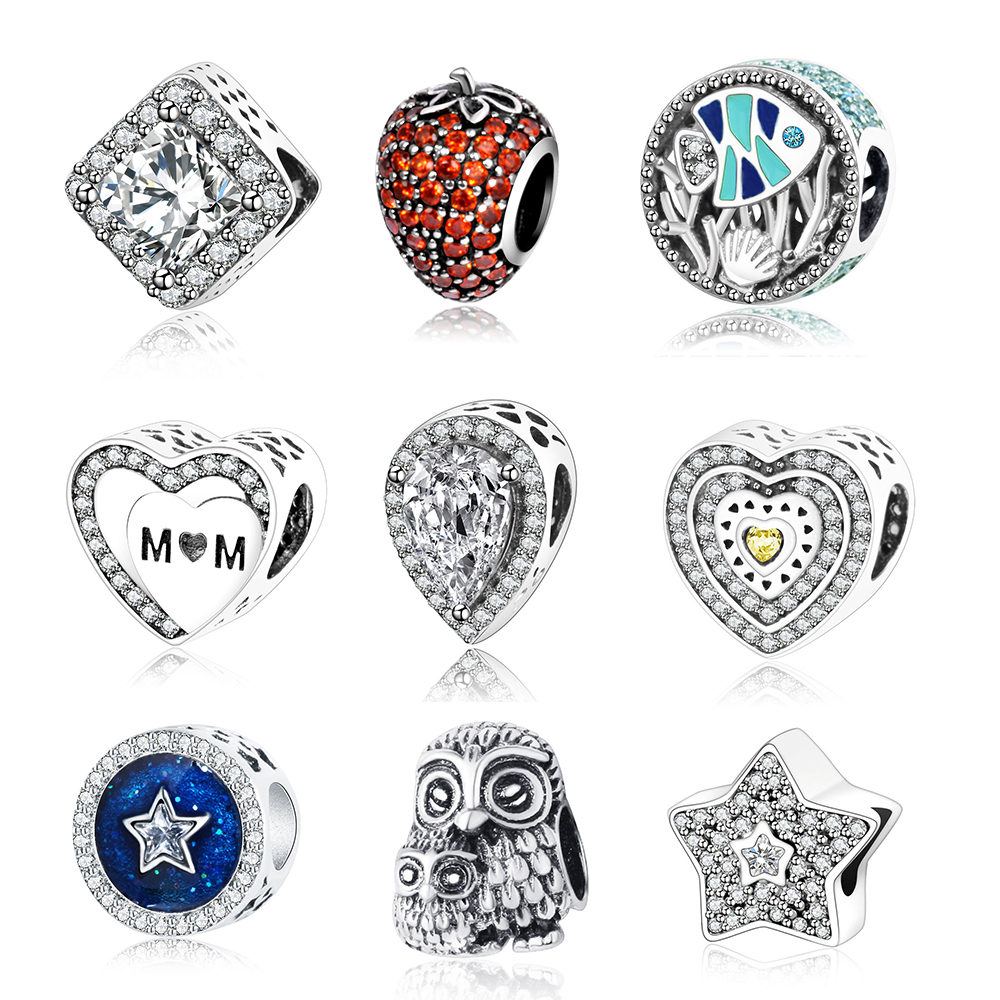 2017 Summer Collection 925 Sterling Silver Beads Fish Charms With Enamel And CZ Fits Original Pandora Charm Bracelet Jewelry
