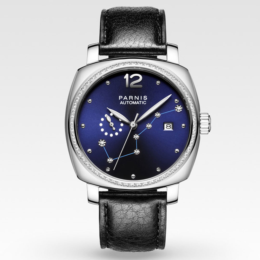 лучшая цена 39mm parnis Blue Dial Sapphire Crystal top Brand Luxury Auto watch Black Strap 21 jewels Miyota Automatic Mechanical Women Watch