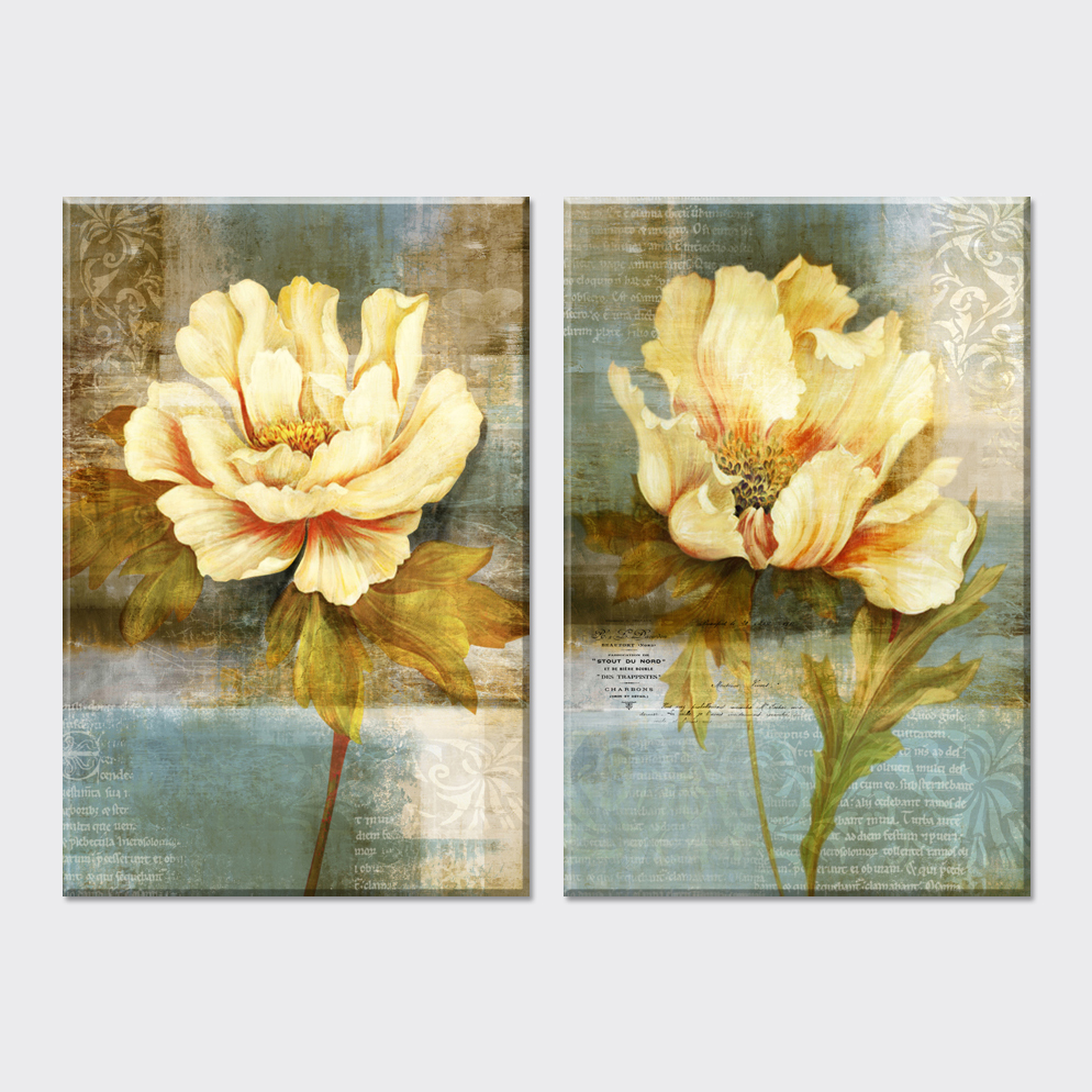 2 piece Vintage home decoracion flowers oil painting Modular ...