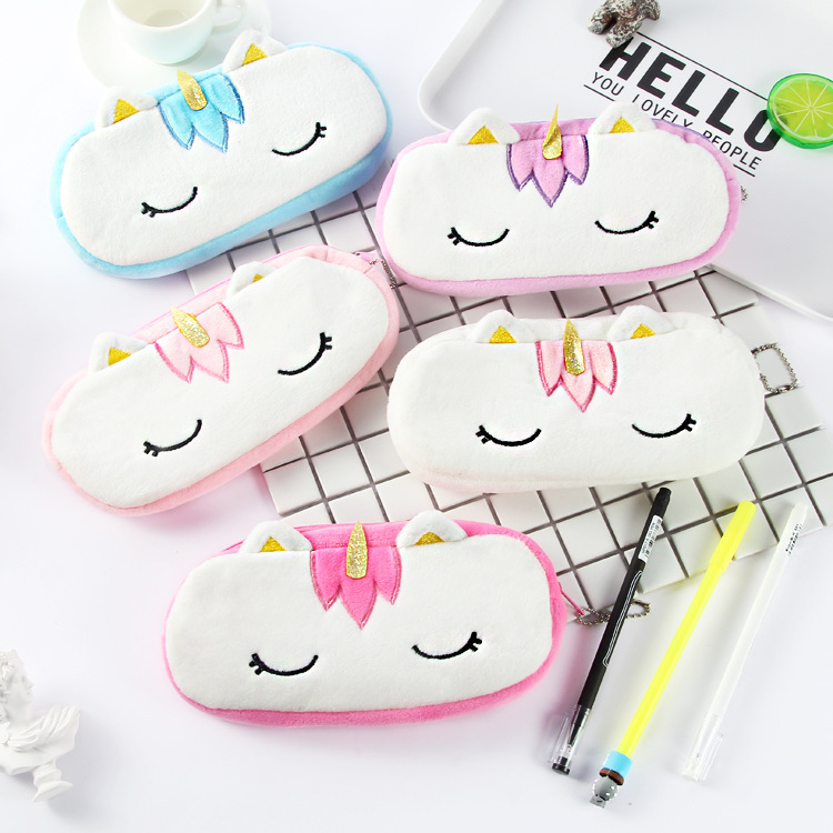 25 pcs lot Cute Squinting Unicorn Plush Pencil Case Stationery Storage Organizer Bag School Office Supply