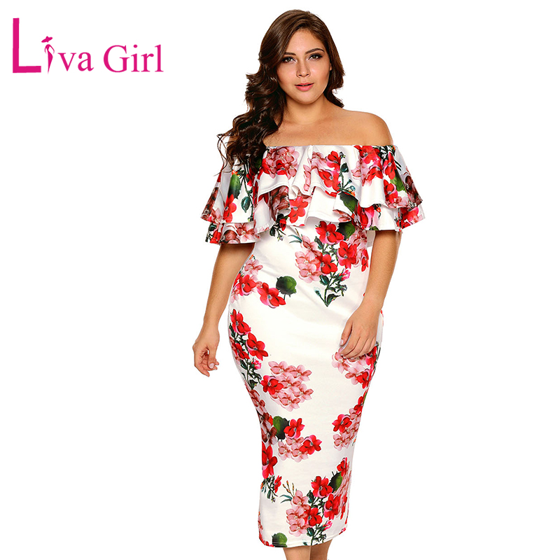 LIVA GIRL Elegant Plus Size Party Dress Femmes Printemps Hiver Volants Hors Épaule Slash Neck Midi Robes Grande Taille Robes 3XL