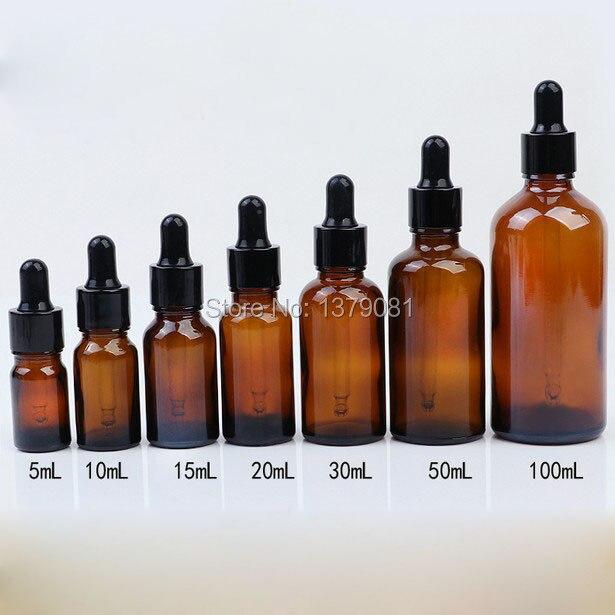 5ml,10ml,15ml,20ml,30ml,50ml,100ml Brown Mini Glass Bottles with Dropper Black Rubber DIY Sample Vial Essential Oil Bottle