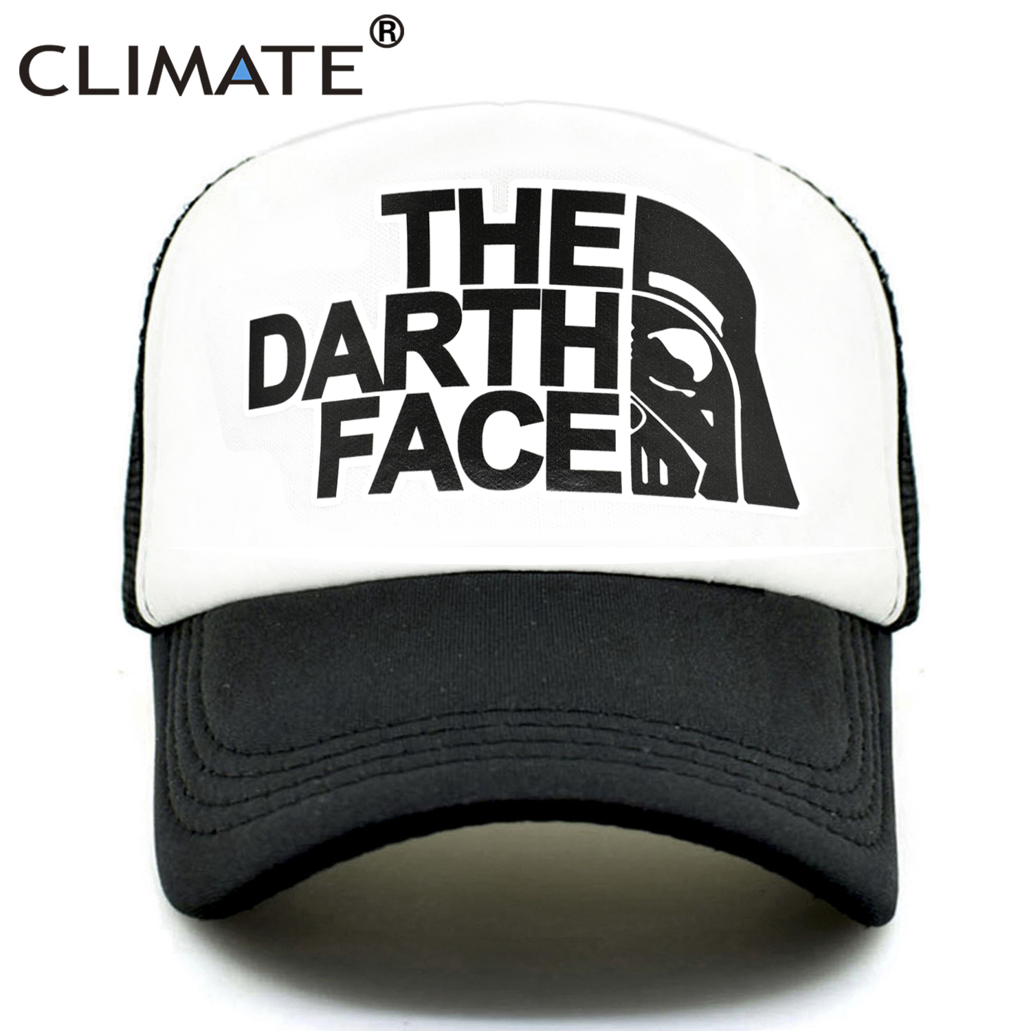 CLIMATE Darth Trucker   Cap   Star Darth Wars Funny   Caps   Men The Darth Face Hat   Baseball     Cap   Cool Summer Mesh Net   Cap   Hat for Men