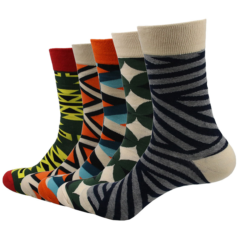 5 Pairs/lot Mens Funny Colorful Combed Cotton Socks Casual Breathable Socks Male individuality Creative Socks Calcetines
