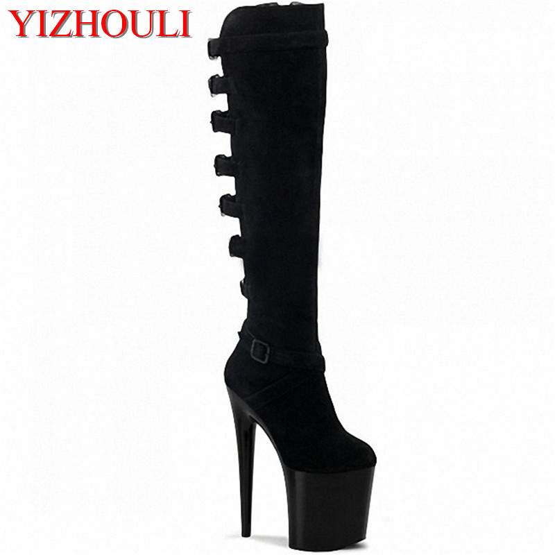 20cm pole dancing boots thigh high stiletto boots 8 inch Spike Heels platform Over The Knee Boots sexy clubbing women's shoes 20cm pole dancing sexy ultra high knee high boots with pure color sexy dancer high heeled lap dancing shoes