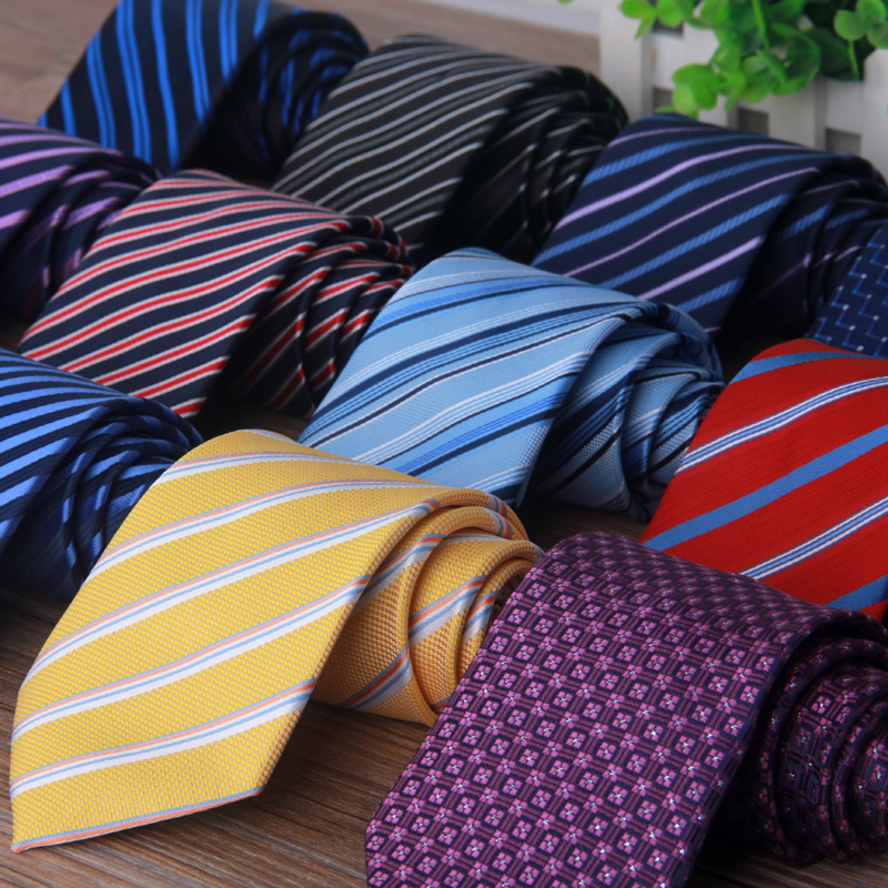 145X8 Cm Long Mens Skinny Ties Black Polyester Silk Plaids Stripes Dots Jacquard 8cm Necktie Neck Tie Party