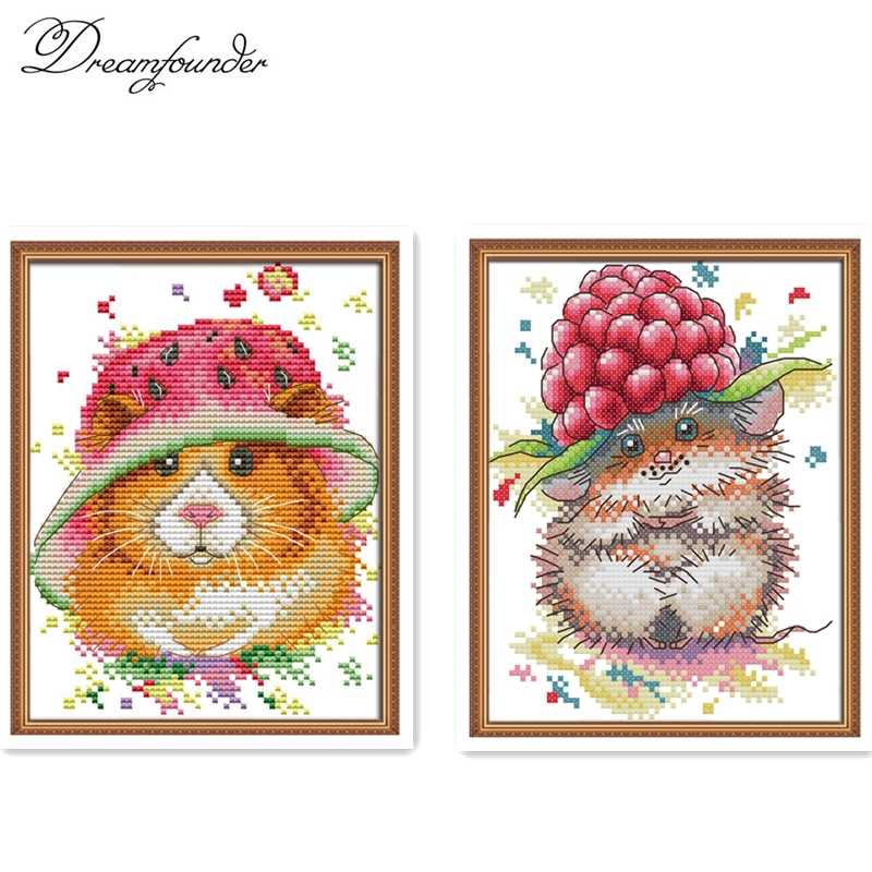 A little mouse's strawberry cap cross stitch kit aida 14ct 11ct count print canvas stitches embroidery DIY handmade needlework
