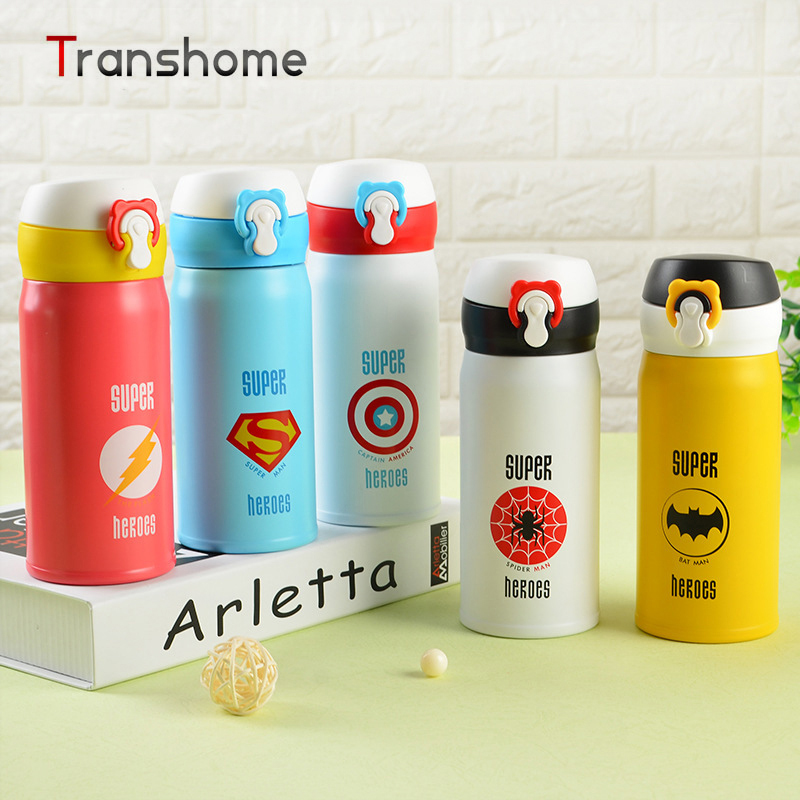 TRANSHOME 350ML High Quanlity Thermos Vacuum Stainless Steel <font><b>Water</b></font> <font><b>Bottle</b></font> For Kids Super <font><b>Hero</b></font> Superman <font><b>Spiderman</b></font> Thermos <font><b>Bottle</b></font>