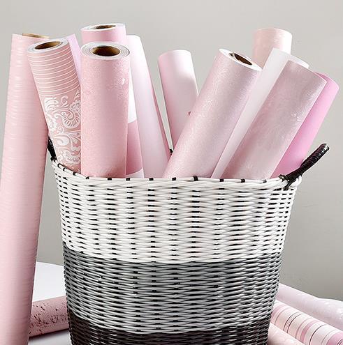 Màu hồng khiêu dâm bố trí phòng dán tường trang trí ký túc xá hình nền màu hồng tự dính phòng ngủ ấm cô gái dán hình nền
