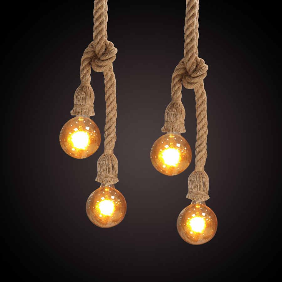 Для детей от 1 года до 5 лет м двойной головкой пеньковый веревочный подвесной светильник база 20 мм прочная веревка Медный провод Ретро E27 Основание светильника для Гостиная Кафе Декор дома магазина