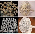 12PX Rhinestone crystal brooches silver rose gold brooch pins wedding bridal decor bouquet kit