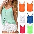 2016 Fashion Crop Top Women Chiffon Sleeveless Shirt Minion Top Vest Camis Blouse Plus Size S-XXXL  W0041