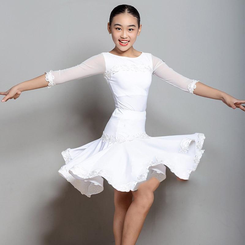 Girls Latin Dance Dress Kids Rumba Practice Clothes Latin Dance Competition Dresses Children Tango/Samba/Salsa Outfit DQL1051
