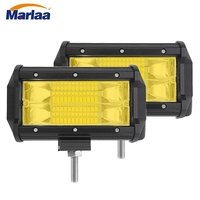Marlaa 2pcs Yellow 5 Inch 72W Modified Car Top LED Light Spot Work Lamp With Two
