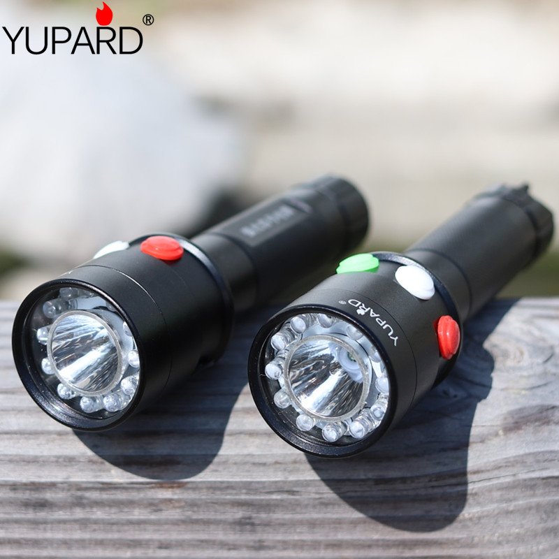 YUPARD Ultra Bright CREE Q5 LED Red Green Yellow White 7 Mode Flashlight Railway Signal Light