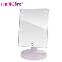 شاشة LED باللمس مرآة لوضع مساحيق التجميل المهنية المرآة البالونية مع 16/22 LED أضواء الصحية الجمال قابل للتعديل كونترتوب 180 الدورية