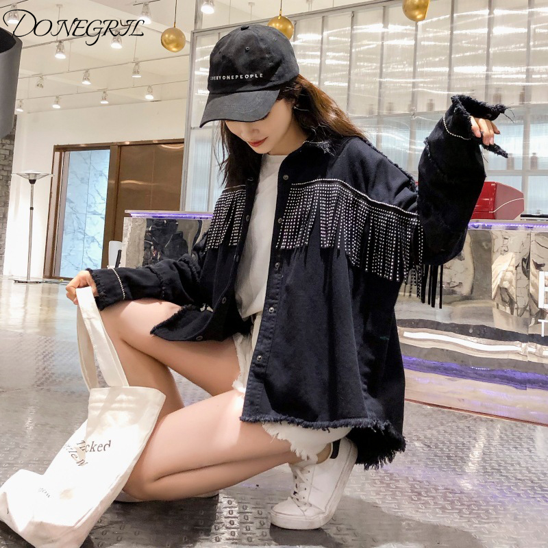 2019 Autumn Tassels Punk Style Denim Jacket Women Black Batwing Sleeve Loose Streetwear Jeans Bomber Jacket Oversize Outerwear