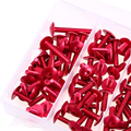 Aluminum 6mm 74Pcs/Set Red Motorcycle Complete Fairing Bolts Kit Fastener Clips Screws for Universal Sportbikes Motorcycle Nuts