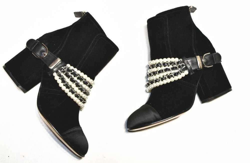 Жемчужная Нить; женские ботинки с бусинами; черные женские ботинки из натуральной кожи с круглым носком; женские ботильоны с пряжкой на квадратном каблуке и цепочкой; 2018