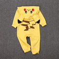 7-24M Baby Pokemon Go Costumes Romper For Girls Newborn Infantil Boys Hooded Cartoon Jumpsuits Clothes Long Sleeve Kids Clothing