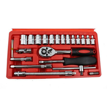 цена на Professional 46pcs 1/4-Inch Socket Set Car Repair Tool Ratchet Set Torque Wrench Combination Bit a Set of Keys